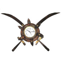Wooden Big Sword Armour Clock Decorative Wall Clock With An Antique Finish