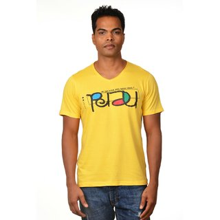 Nirvana Mens Nerd Yellow Round Neck Half Sleeves Cotton Tshirt