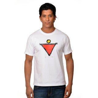 Nirvana Mens Divine White Round Neck Half Sleeves Cotton Tshirt