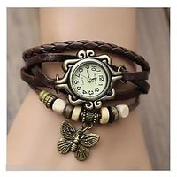 Vintage Round Dial Brown Black Leather Analog Watch For