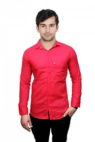 Knight Riders Mens Red Slim Fit Casual linen Shirt