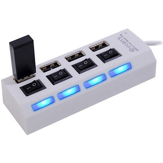 High Speed 4 Port USB HUB 2.0 With Individual Switches   White