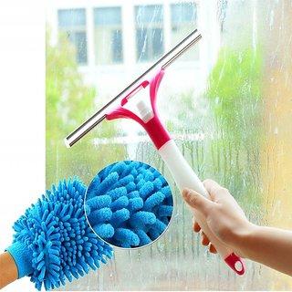 Kudos COMBO OF 1 Microfibre Glove + 1 Glass Washing Wiper