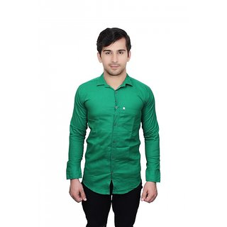 Knight Riders Slimfit Plain Dark Green Casual Poly-Cotton Shirt