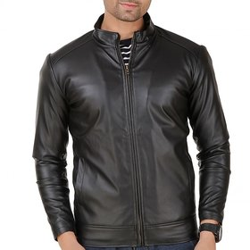 Leather Retail Plain Black Slim Fit Leather Jacket For Men