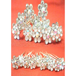 12pcsBridal Rhinestone silver Plated Crystal Hair U Pins Clips Accessories