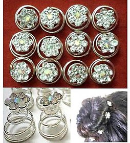 12pcs Rhinestone Silver Plated FlowerCrystal Hair Rings, Pins,Clips, Accessories
