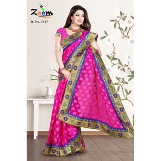 Zoom Classy Ranni Embroidery Net Jacquard Saree