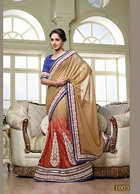 12Angel Blue & Peach Raw Silk Self Design Saree Without Blouse