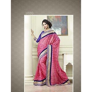 Ravishing Peach Color Party Wear Saree