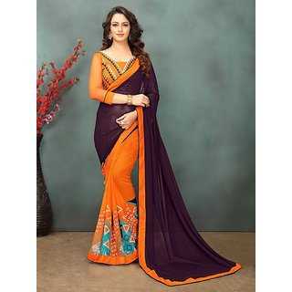 Meia Brown Georgette Printed Saree With Blouse