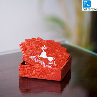 ExclusiveLane Warli Handpainted Coasters Set Of 6 In Orange