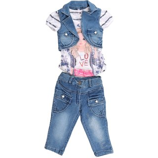 72ad1e71e4869a Buy Arshia Fashions Girls Dress Top and Capri with Denim Jacket Online -  Get 66% Off