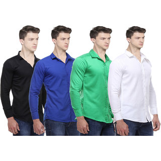 Black Bee Solid Cotton Poly-Cotton Shirts for Men Pack of 4