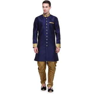 RG Designers Navy And Gold Plain Sherwani For Men