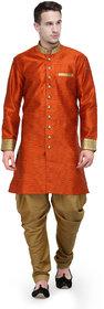 RG Designers Orange And Gold Plain Sherwani For Men