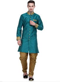 RG Designers Rama And Gold Plain Sherwani For Men