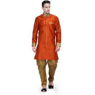 RG Designers Orange And Gold Plain Sherwani For Men