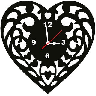 Heart Wall Clock Mdf Wooden by Ena Decor