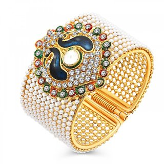 Shostopper Traditional Style Gold Plated Pearl Studded Kada Bangle for Women