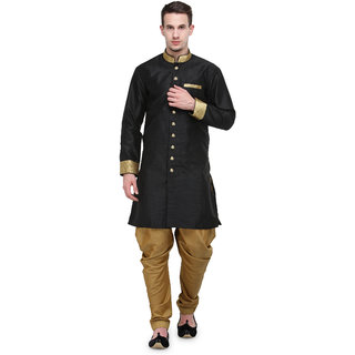 RG Designers Black And Gold Plain Sherwani For Men