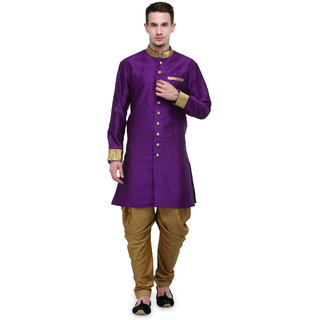RG Designers Purple And Gold Plain Sherwani For Men