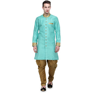 RG Designers Ocean Blue And Gold Plain Sherwani For Men
