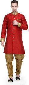 RG Designers Red And Gold Plain Sherwani For Men