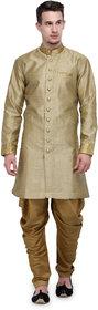 RG Designers Khaki And Gold Plain Sherwani For Men