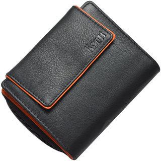 Knott Fashionable Black /Orange Leather Wallet for Women