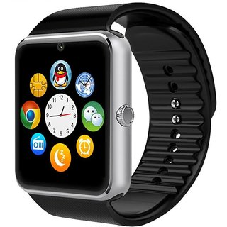 Ibs GT08 Bluetooth with Built-in Sim card and memory card slot Ccompatible with All Android Mobiles Silver Smartwatch