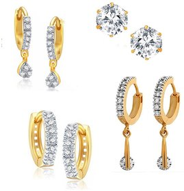 Classy Chic Bollywood Style Small Studs Set Of 4 Earrings Indian Ethnic By GoldNera