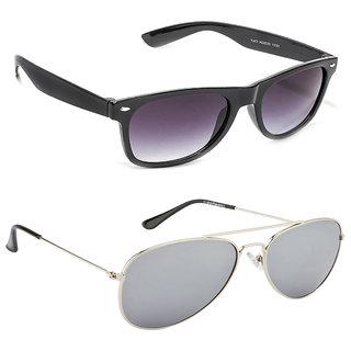 ba374437efe7 Buy Magjons Fashion Combo Of Black Wayfarer Silver Mirror Aviator Sunglasses  Online - Get 74% Off