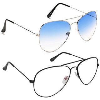 Magjons Fashion Combo Of Blue And Clear Lens Aviator Sunglasses