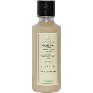 Khadi Pure Herbal Jasmine  Mogra Body Wash SLS-Paraben Free - 210ml