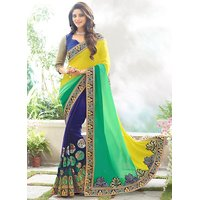 Crazyddeal Blue  Yellow Georgette Embroidered Saree With Blouse