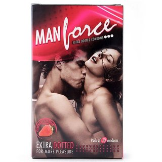 Manforce Extra Dotted Strawberry Condoms - 10 Pieces
