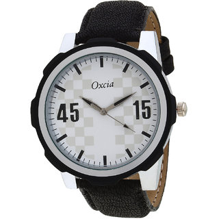 Oxcia White Dial Black Strap Analog Watch For Men  Boys