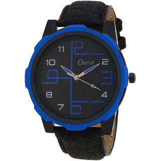 Oxcia Black Dial Black Strap Analog Watch For Men  Boys