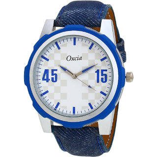 Oxcia White Dial Blue Strap Analog Watch For Men  Boys