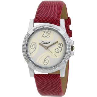 Oxcia White Dial Red Strap Analog Watch For Men  Boys