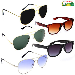 Elligator Multicolour Unisex Sunglasses Combo (Pack Of 5)
