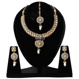 Jewels Gehna Alloy Party Wear Traditional Stone Designer Necklace Set  Earring With MaangTikka Set For Women  Girls