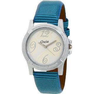 Oxcia White Dial Blue Strap Analog Watch For Men  Boys