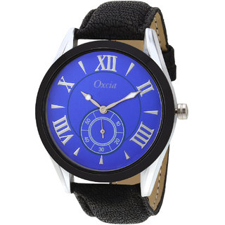 Oxcia Navy Dial Black Strap Analog Watch For Men  Boys