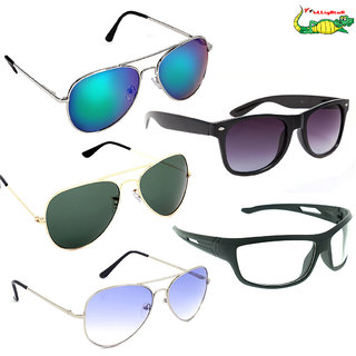 Elligator Unisex Sunglasses Combo (Pack Of 5)