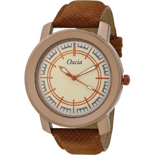 Oxcia Multi Color Dial Brown Strap Analog Watch For Men  Boys
