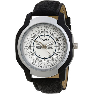 Oxcia White Dial Black Strap Analog Watch For Men  Boys
