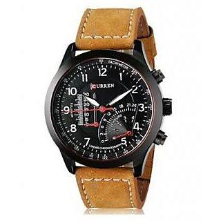 Stylist Curren Black Dial Brown Leather Belt Analog Men'S Watch By Hans-003