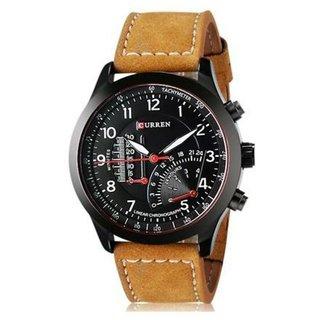 Stylist Curren Black Dial Brown Leather Belt Analog Men'S Watch By Hans-005
